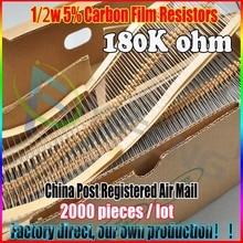 Новый 2000 шт. 180 К Ом 1/2 Вт 180KR Углеродные Пленочные Резисторы 180 Ком 1/2 Вт 5% ROHS