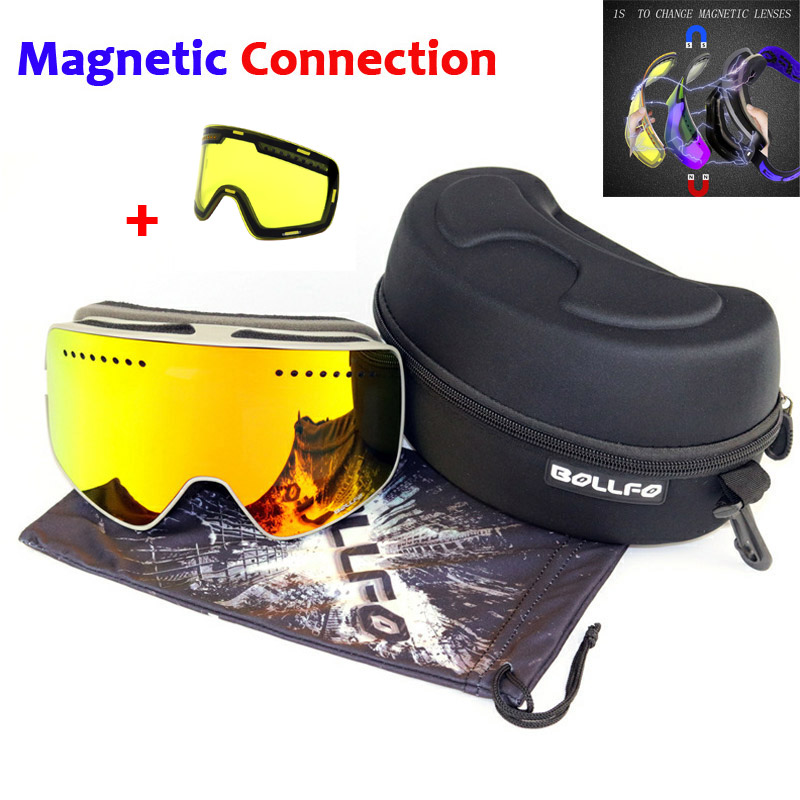 Magnétique Double couches lentille lunettes de Ski masques Anti-buée UV400 Snowboard lunettes lunettes de Ski lunettes pour hommes femmes avec étui