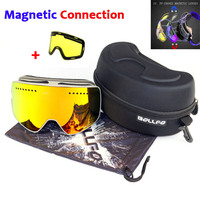 Magnetic Double Layers Lens Ski Goggles Masks Anti fog UV400 Snowboard Goggles Ski Glasses Eyewear for men women with case