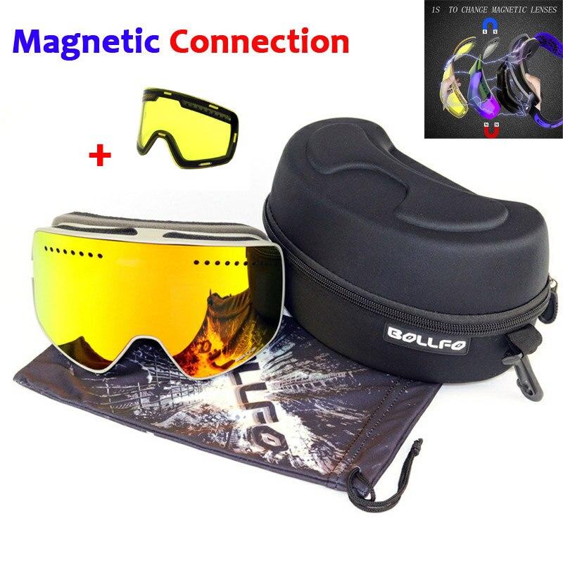 Magnetische Doppel Schichten Objektiv Ski Brille Masken Anti-nebel UV400 Snowboard Brille Ski Brille Brillen für männer frauen mit fall