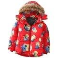 Мальчик зимняя куртка вниз пальто меха с капюшоном толстые теплые детская одежда детей пуховик парки 3-8 лет куртки для мальчика