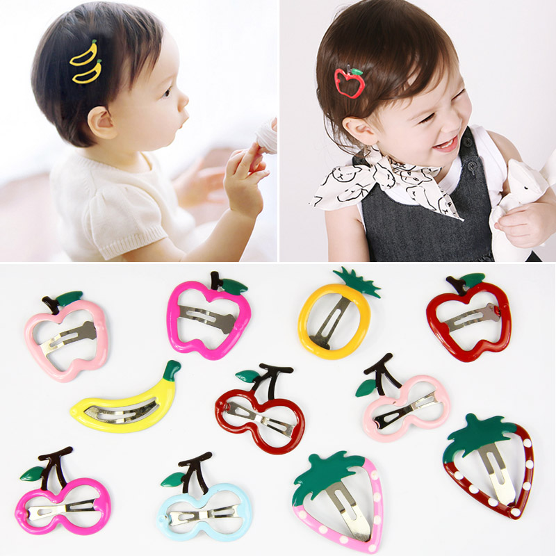 1Pair Sale Cute Strawberry Frunt Hair Clips   Headwear   Barrette Pineapple Banana Korean kids Lovely Cherry