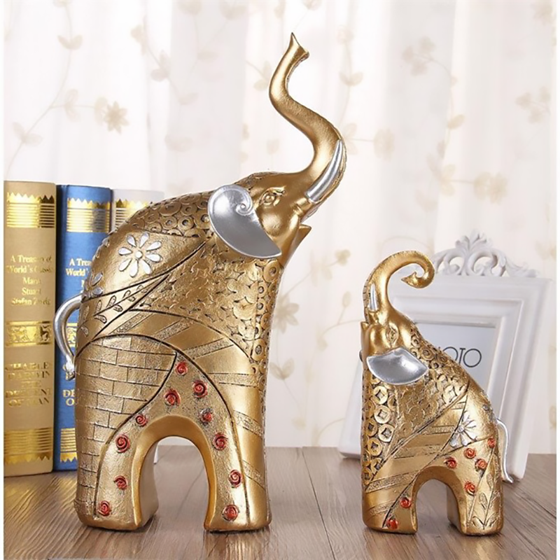 ERMAKOVA 2 Pieces Feng Shui Mother and Baby Elephant Figurine Wealth Lucky Statue Animal Figurine Home Decoration Gift
