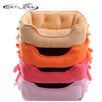 Fashion Dog Bed Comfortable Warm Solid Color Pink Red Khaki Orange Dog House Breathable Waterproof Bowknot