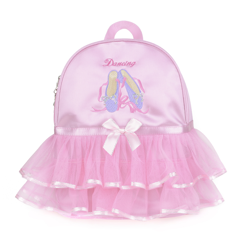 Fashion Pink Kids Girls Ballet Dance Bag Students School Backpack Shoes Embroidered Tiered Ruffled Tutu Shoulder Bag Dance