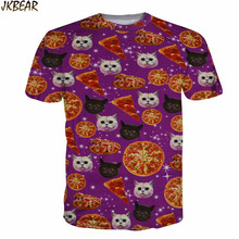 Hot-sale Cute Cat Pizza T Shirts for Men and Women Funny Kwaii Kitty Food 3D Print Graphic Crewneck Tees Plus Size M-XXL
