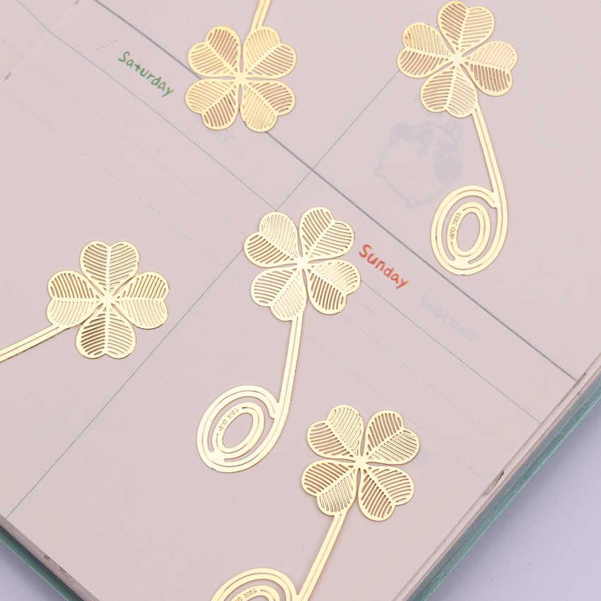 1PC Neue Vier-leaf Clover Lesen Metall Clip Lesezeichen Geschenk Buch Mark für Kinder