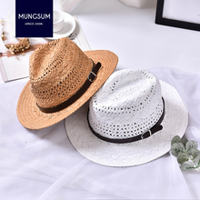 a5d6a41cfec Summer straw hat men and women hand knitted jazz hat beach sunshade  sunscreen hats leisure hat