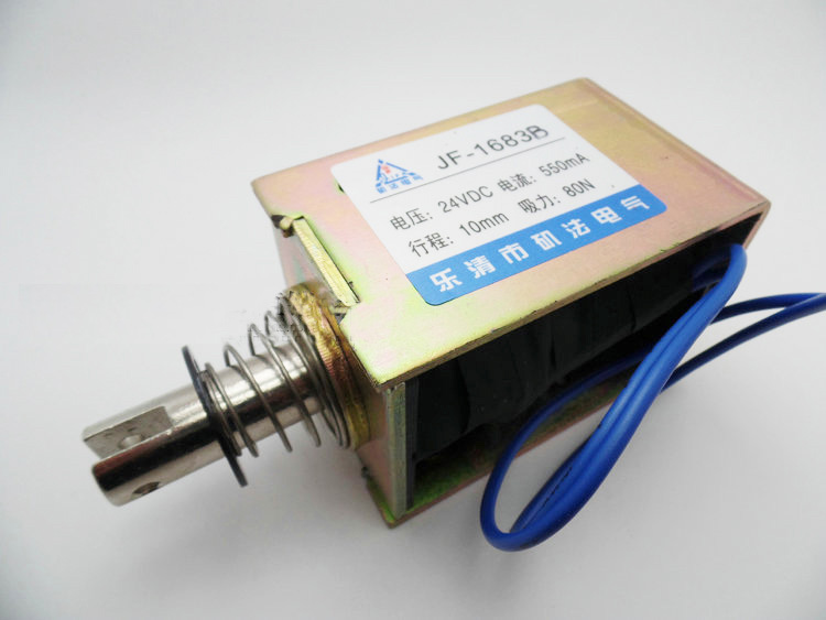цена на 1PC JF-1683B 52x58x83 DC 12V DC 24V 550mA Suction 80N Stroke 10mm Push Pull Type Open Frame Solenoid Electromagnet