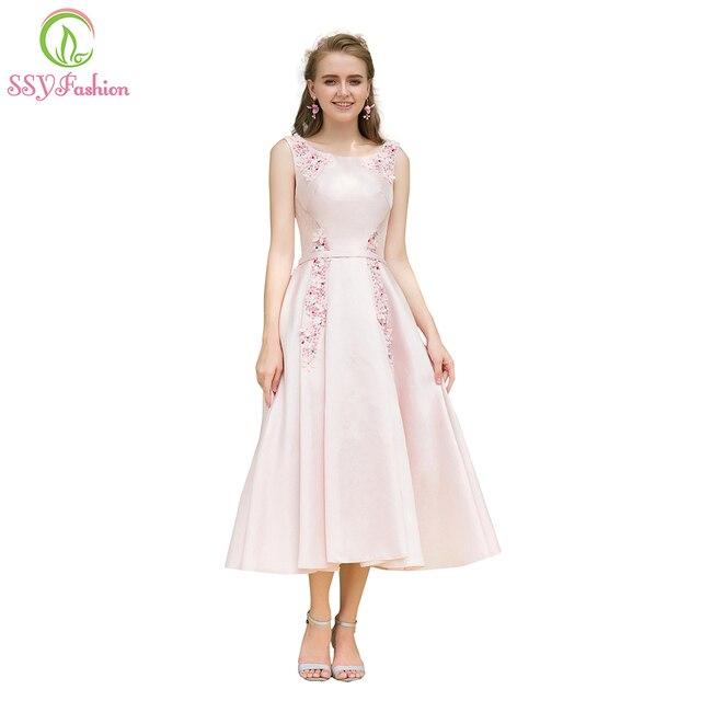 fbe6c0a601 SSYFashion Nowy Elegancki Bankiet Różowa Satynowa Sukienka Koktajlowa  Słodkie Aplikacje tea-długość Strona Suknia Formalne
