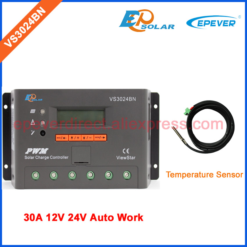 VS3024BN 30A ViewStar series controller Solar Charger PWM EPSolar EPEVER 12V 24V Auto Work Temperature sensor 24v 30amp epsolar epever new series solar controller vs3024bn charger lcd display 30a 12v 24v auto work