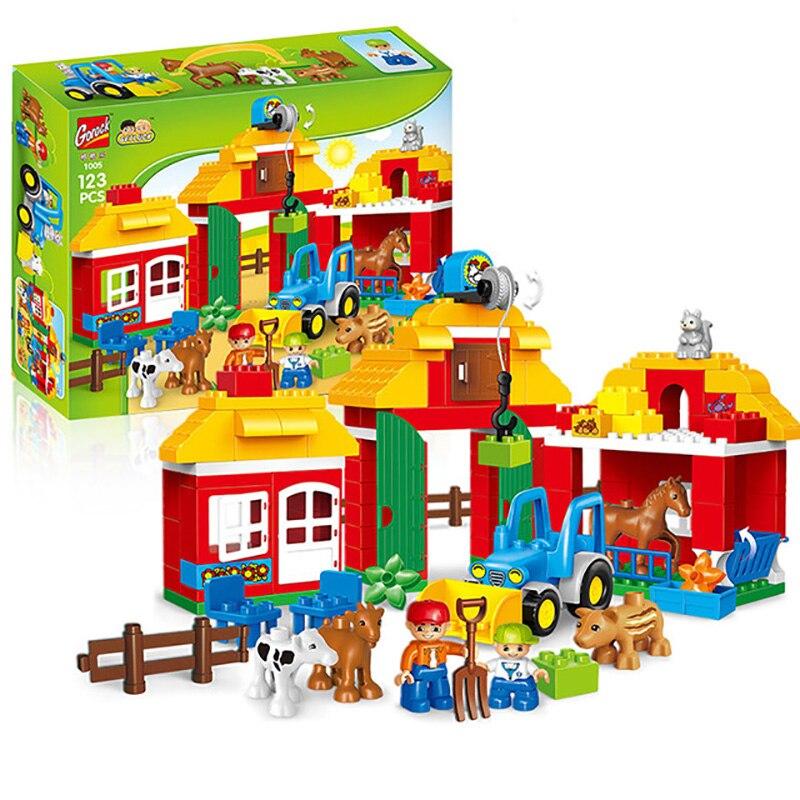 123 pièces Heureux Ferme Grande Taille Blocs Ensembles Heureux Zoo Avec Animaux Pour Enfants Ville bricolage Jouets Compatible LegoINGs duplo Briques
