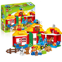 123PCS Happy Farm Big Size Building Blocks Sets Happy Zoo With Animals For Kids City DIY Toys Compatible LegoINGs Duplo Bricks
