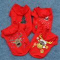 Pet Clothes Christmas Pattern Costume with Hat Red Dress Winter Apparel Dog Cat Cotton Jackets Xmas Gifts