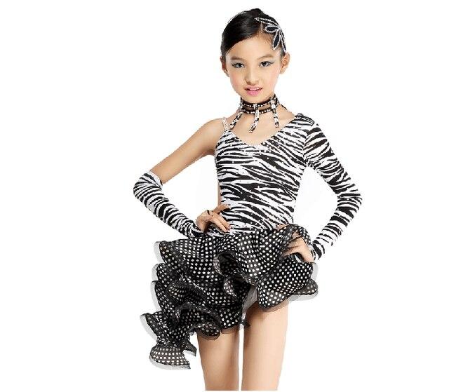 227b660ed11 Tango salsa zèbre léopard danse justaucorps robe fille pour enfants filles  costumes danse porter latin compétition