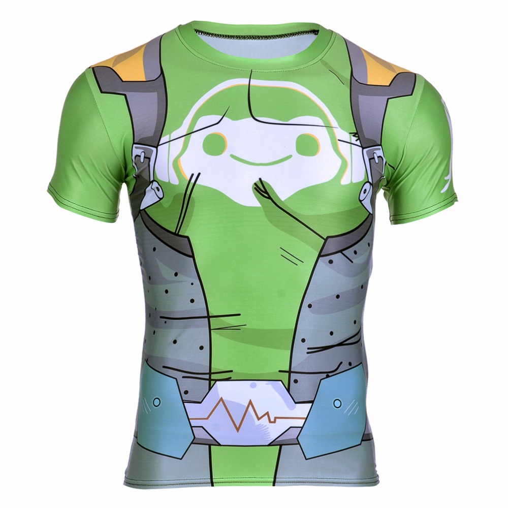 New 2017 Summer 0060 Blizzard Game Lucio Reinhardt Cosplay Zipper Prints Quick-dry Fitness Short Sleeve Mens T-shirt Men Tees