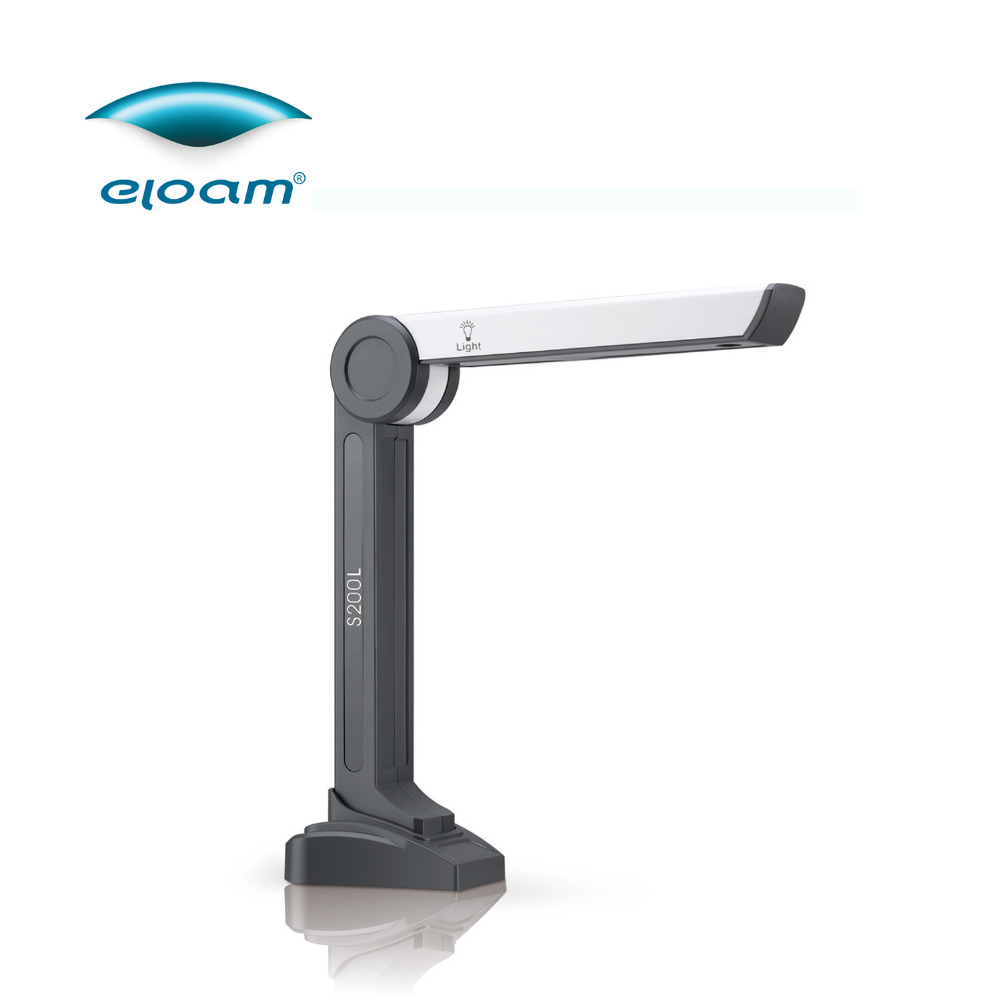 Eloam S200L 1600x1200 HD 2MP A4 Document Scanner Office Bussiness ID Card Book Scanner A4 Size Portable HD Camera OCR Scanner eloam s1000 portable flodaway a4 a5 doc scanner high speed usb hd camera for bank school 10mp book ocr scanner a4 presenter pdf