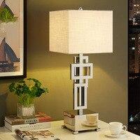 Современные Настольная лампа с абажуром ткани светодиодный Lamparas де меса металлический стол света E27 отель освещения деко luminaria де меса