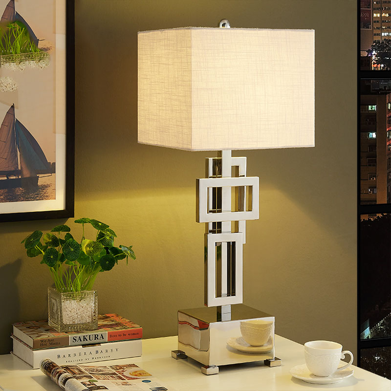 Modern Table Lamp With Fabric Lampshade LED Lamparas de mesa Metal Desk Light E27 Hotel Lighting Deco Luminaria de mesa trazos modern table lamp hotel book lights lamparas de mesa bedside reading light e27 luminaria de mesa with led bulb for free
