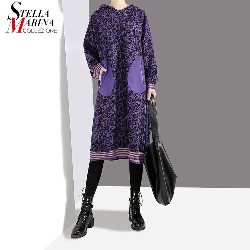 Nouveau 2018 Style Coréen Femmes Violet Vert Léopard À Capuchon Robe Avec Poches Genou Longueur Femme Casual Wear Coton Midi Robe 4559