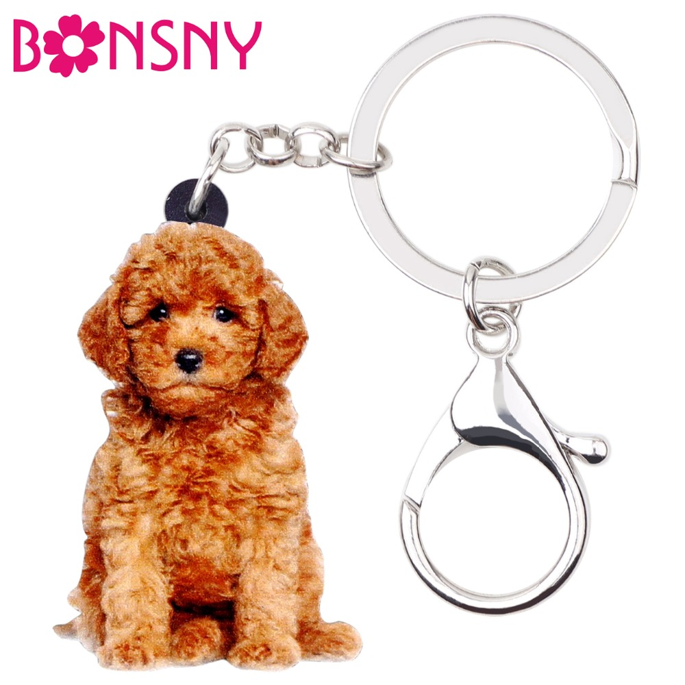 Bonsny Acrylic Sitting Fluffy Teddy Dog Key Chains Keychain Rings Animal Jewelry For Women Girls Handbag Charms Gift Accessories