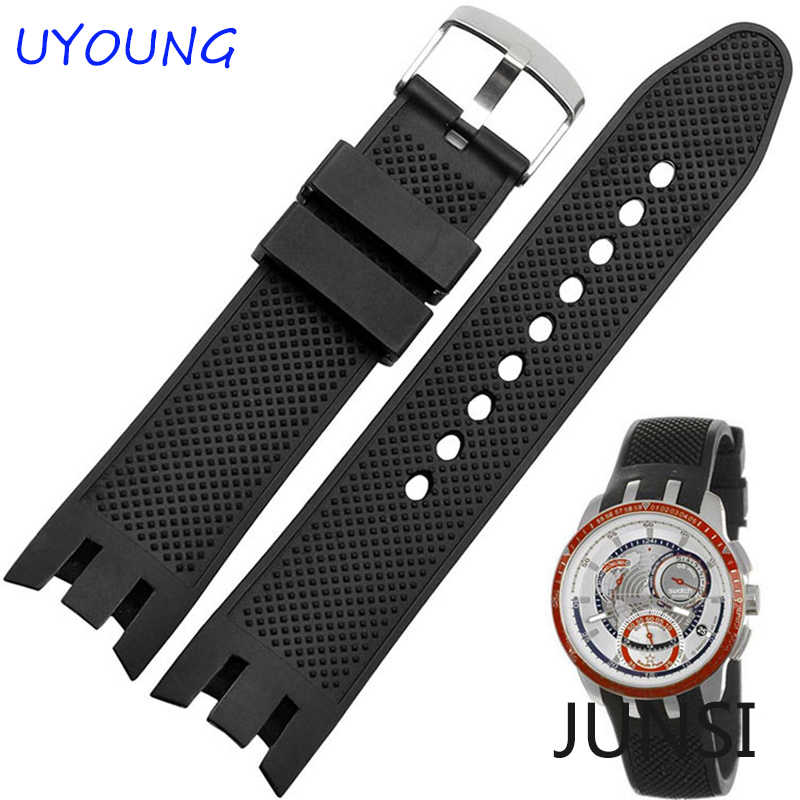 Quality Silicone Watch bands Black waterproof Watch accessories For Swatch Strap