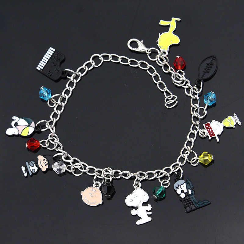 Caldo Del Fumetto di Modo Peanuts Charlie Brown 9 A Tema Pendenti E Ciondoli Assortiti In Metallo del Braccialetto di Fascino Per Dare Ai Bambini Best Regali di Festa