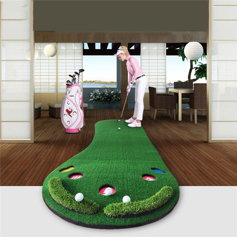 PGM Golf Putting Mat Golf Putter Trainer Green Putter Carpet Big Feet Golf Trainer Mat Artificial Grass Carpet Profess simulation mini golf course display toy set with golf club ball flag