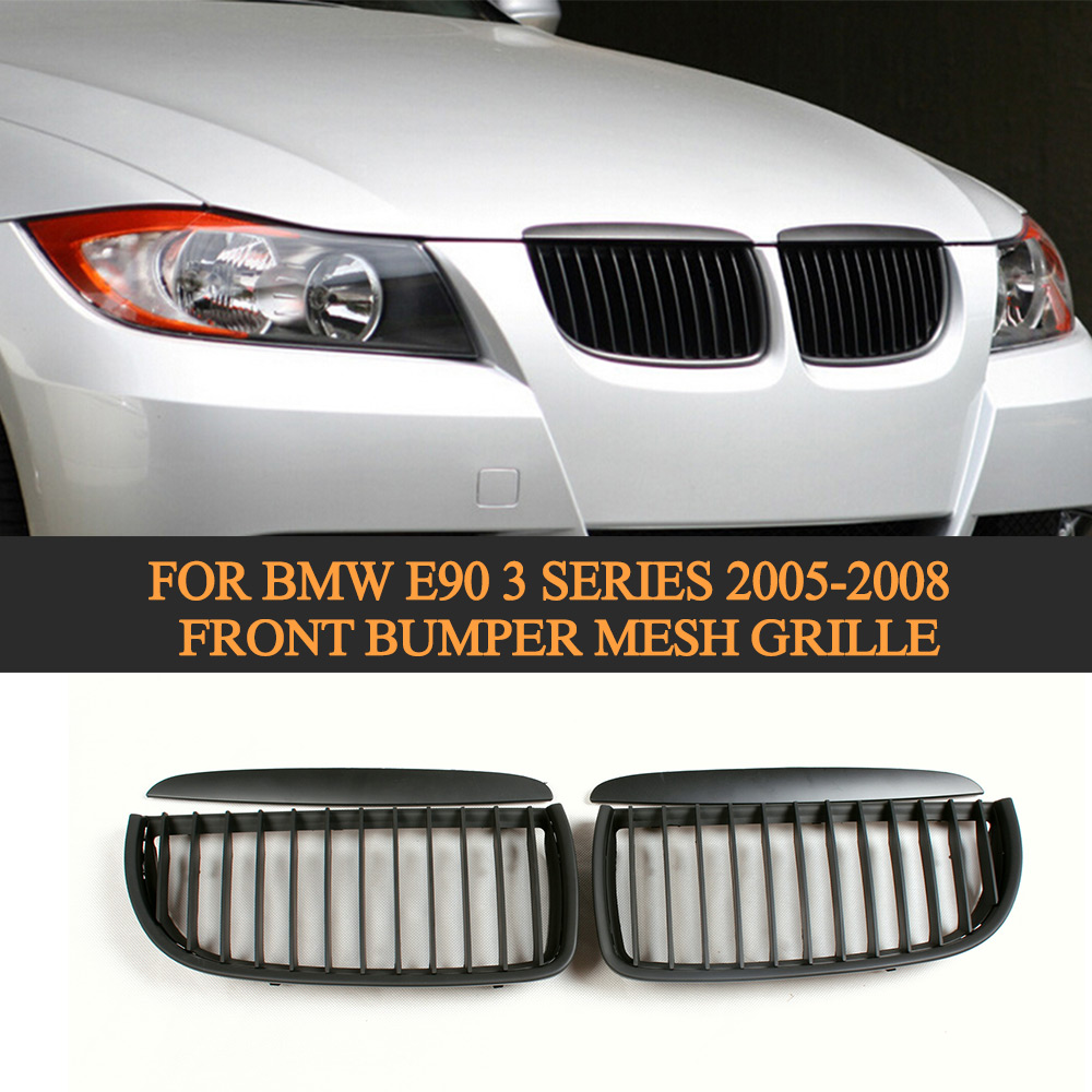 PP Matt Black Mesh Radiator Grill Front Bumper Mesh Grille for BMW E90 3 Series 2005 2006 2007 2008 Auto Racing Car Styling
