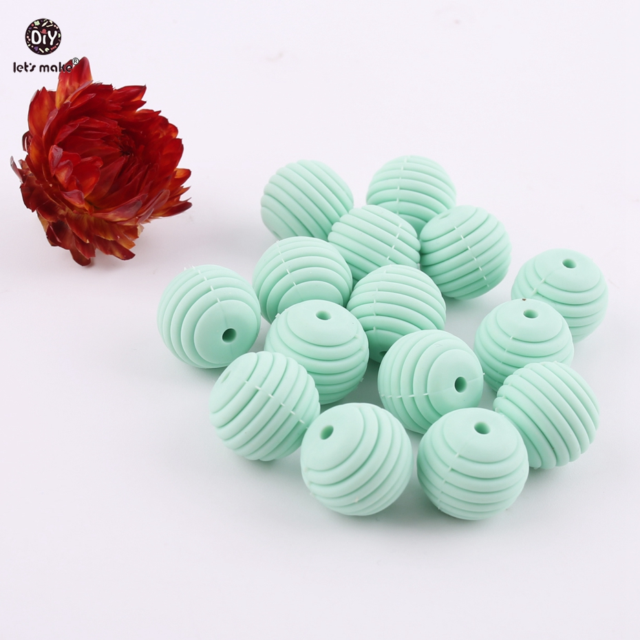 Let's Make Mint 10pcs 15mm Thread Spiral Beads Silicone Chewable DIY Beads Baby Rattle Making Accessories Baby Teether