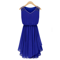 Vestidos Chiffon V Neck Summer Dress Keen Length Casual Pleated Women Dress Sexy Party Dresses Plus