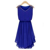 Vestidos Chiffon V Neck Summer Dress Keen Length Casual Pleated Women Dress Sexy Party Dresses Plus