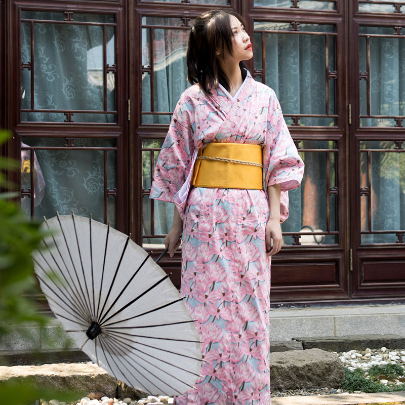 2019 Woman Lady Japanese Tradition Yukata Kimono Bath Robe Gown Without Obi Flower Vintage Evening Party Dress Cosplay