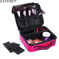 SAFEBET Brand Professional Women Makeup Bag Large Waterproof Cosmetic Bag Travel Necessary Portable Cosmetic Box Organizer