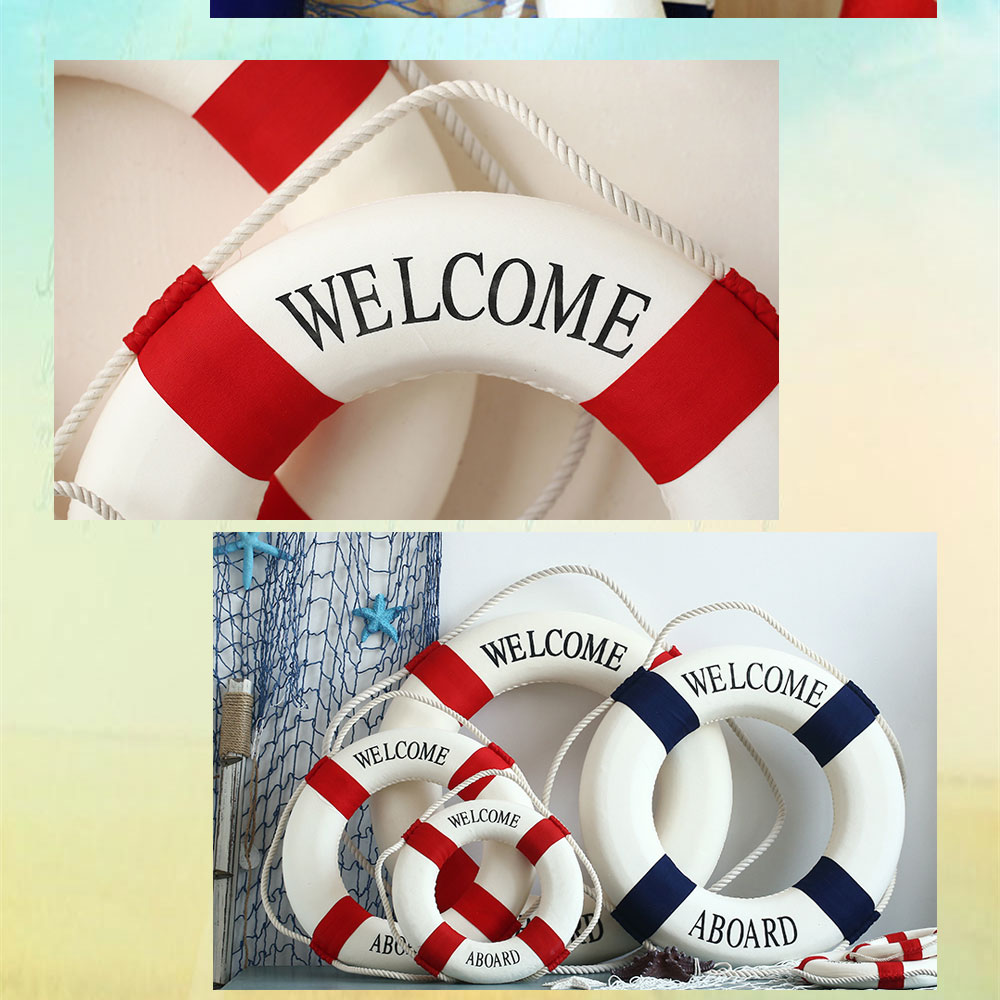 Welcome aboard boat ships life ring clock - Material Foam Rope And Cotton Cloth 2 For Decorations Only 3 Can Be Used For Nautical Beach Or Ocean Decor 4 Usage Home Decoration Photo Props Photo