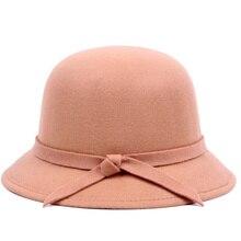 Invierno de las mujeres de fieltro de lana sombrero sombreros Vintage  occidental sombreros de cubo 6 colores caliente mujer somb. 43121aeb378