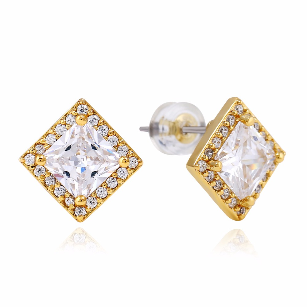 Mens Hip Hop Stud Earring Gold Silver Color Metal Copper 8*8MM Cubic Zirconia Bling Ice Out Square Earring Men Rock Jewelry