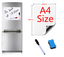 A4 Size 210x297mm Magnetic Whiteboard Fridge Magnets Presentation Boards Home Kitchen Message Writing Sticker 1Pen1eraser