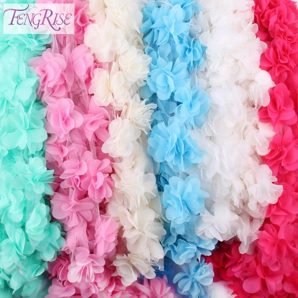 Fabric Flower Trim: Aliexpress.com : Buy FENGRISE 2 Yards 3D Chiffon Cluster