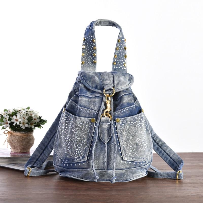 New Fashion Solid Small Messenger Backpacks DayPacks school Bags Denim Jeans Girl s Women Travel Cross