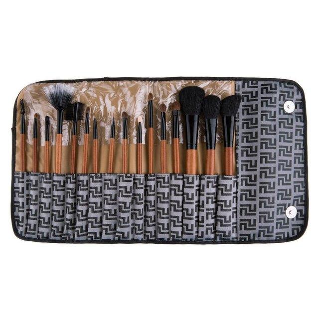 Novo 16 Pcs Maquiagem Profissional Conjunto de Pincel de Maquiagem Cosméticos Marca de Cosméticos Make Up Brushes Com Manta de Lã Cinza Bag1