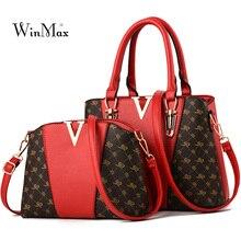 купить 2 PCS/Set Bags Women Leather Handbag Pattern Tote Bag Ladies Handbags Shoulder Bags for Women 2018 Luxury Messenger Bag Bolsas дешево