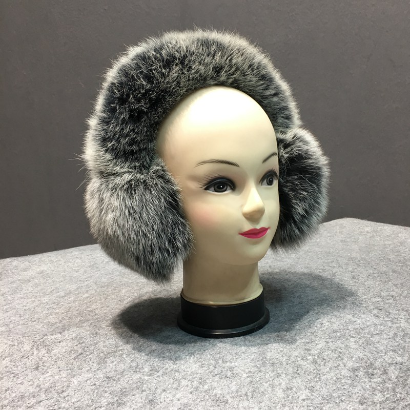 2019 new Real Fur Earmuffs Winter Accessories Women Ear Cover Protector Pink Warmer Solid Ladies Real