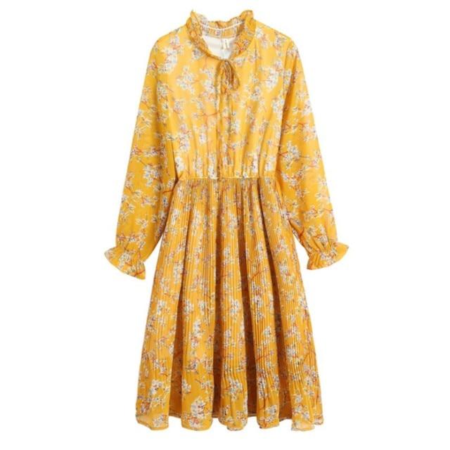 7e4067cb94770 US $26.6 |Zmvkgsoa Autumn Dress Chiffon Sweet Women O Neck Long Sleeve  Floral Elastic Waist Casual Midi Dress Brand Vestidos Mujer Y2600-in  Dresses ...