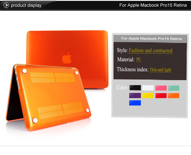 Caja del ordenador portátil para apple macbook pro 15.4, durable duro cristalino claro PC de La Piel Cubierta de Protección de Shell Caso para Apple Pro Retina 15.4