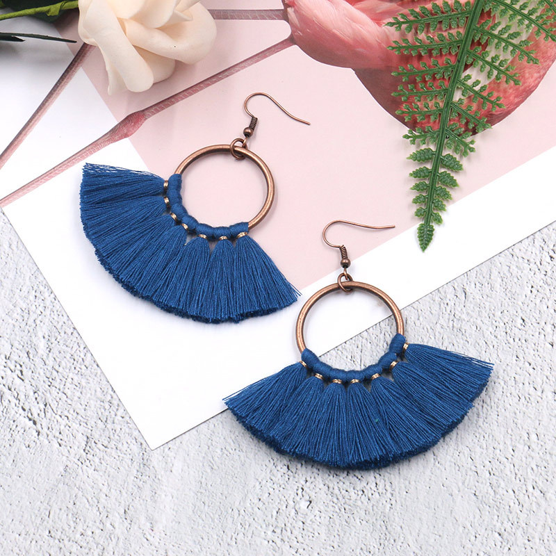 Exknl Long Vintage Fringed Drop Tassel Earrings Women Bohemian Round Big Earrings Ethnic Party Dangle Earrings Fashion Jewelry 15