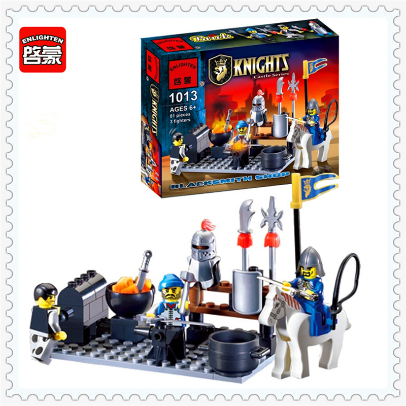 81Pcs Knights Castle Blacksmith Shop Model Building Block Toys ENLIGHTEN 1013 DIY Educational Gift For Children Compatible Legoe enlighten new 2315 656pcs war of glory castle knights the sliver hawk castle 6 figures building block brick toys for children