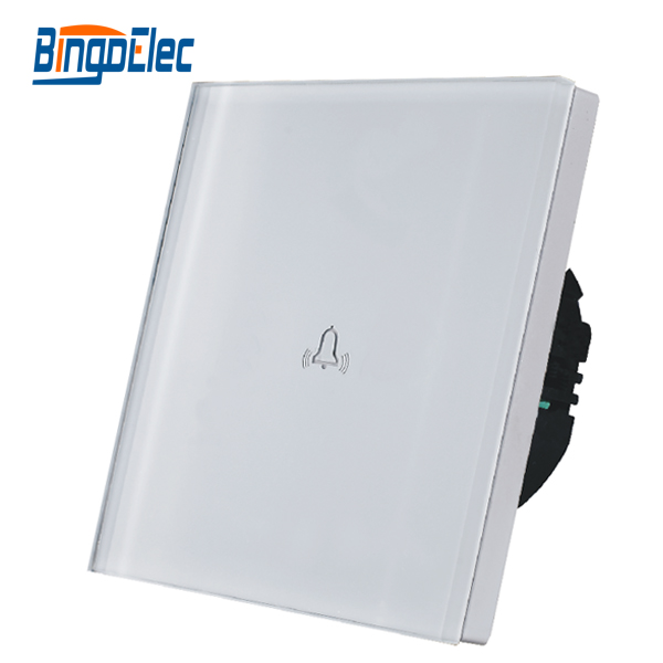 цены на EU/UK standard AC110-250V,white toughened glass panel touch doorbell switch  wall bell switch