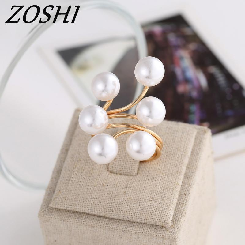 ZOSHI brand 2017 New Ring fashion elegant simulated Pearl Opening Rings ladies jewellery colossal <font><b>discount</b></font> finger ring