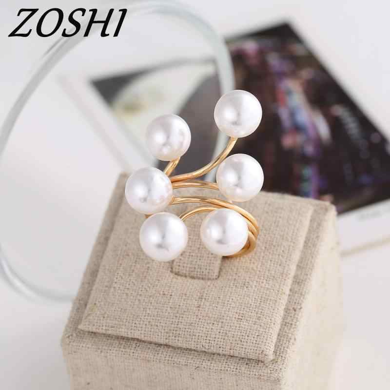 ZOSHI Brand 2019 New Ring Fashion Elegant simulated Pearl Opening Rings women jewelry big discount finger ring